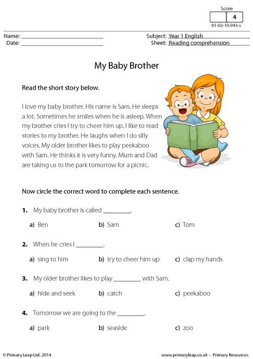 PrimaryLeap.co.uk - Reading comprehension - My Baby Brother Worksheet