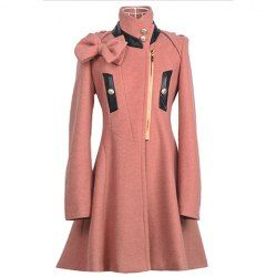 $23.82 Stand Collar Slim Fit Bow Decorated Long Sleeves Woolen #Fabric #Coat For #Women