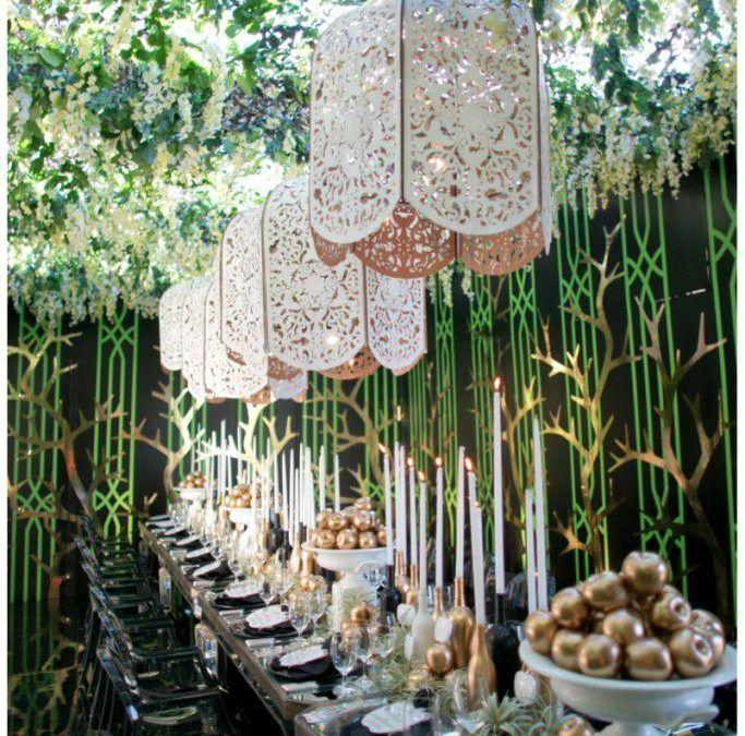 gold apples + green lattice walls + laser cut cream pendants + candlelight | BRILLIANT