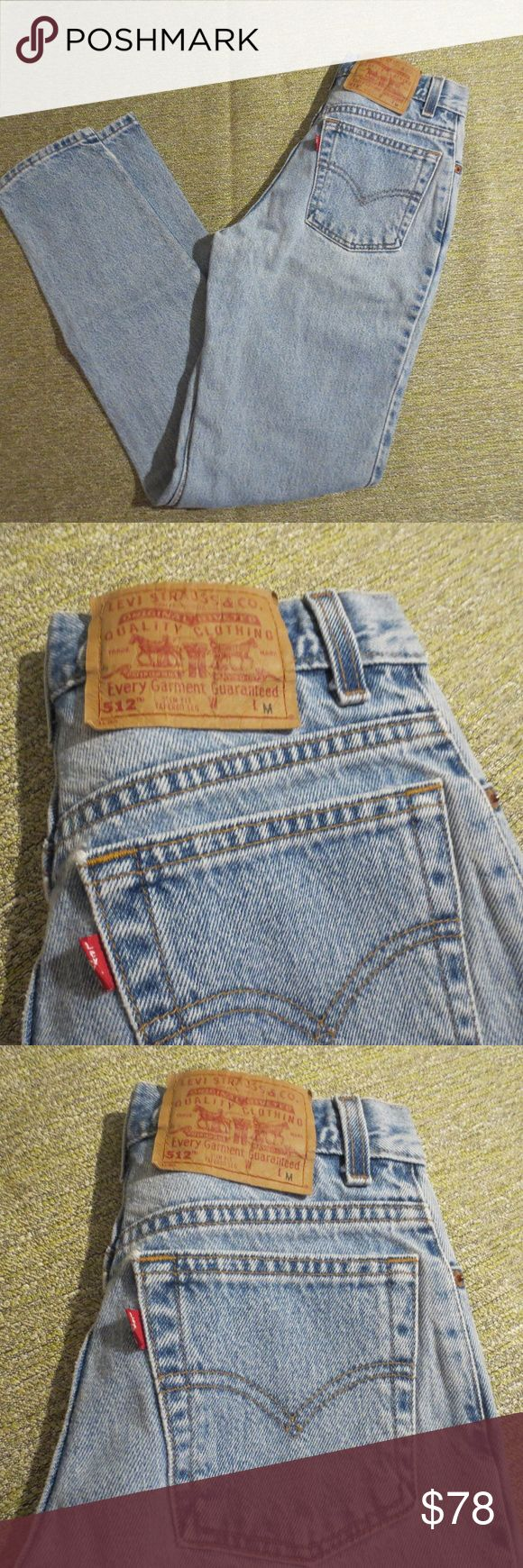 "Vintage Teeny-Tiny Mom Jeans Levis 512 Vintage teeny-tiny Mom Jeans Levis 512 Slim Fit Tapered Leg 3 JR. M These are the perfect mom jeans for the tiny girl!  Size 3 JR M - Waist 24"" - Hips 34"" - Length 39"" - Inseam 29"" Very nice, clean condition! Waiting to be loved again! Levi's Jeans Straight Leg"