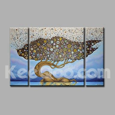 Ready to Hang Hand-Painted Oil Painting on Canvas Wall Art Modern Life Trees Blue Golden Abstract Three Panels