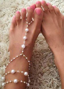 Goldene Hochzeit Fußkettchen Perlen Strand Hochzeitsschuhe