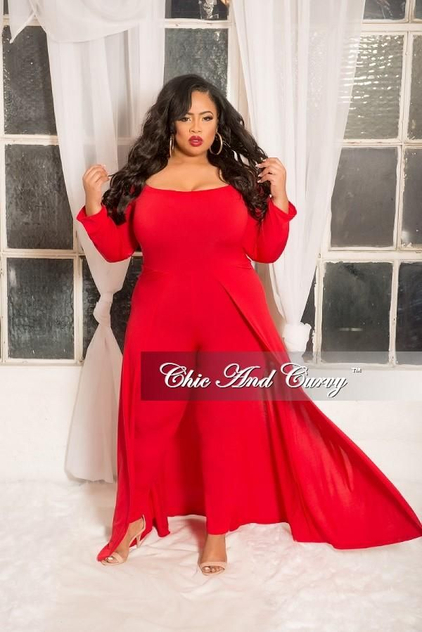 Plus Size Off The Shoulder Jumpsuit With Attached Long Skirt In Red