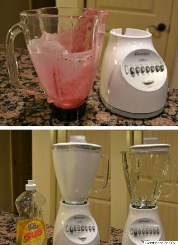 17 DIY Kitchen Tips / Hacks That Will Forever Change Your Favourite Room > blend soap & water to clean your blender after using it