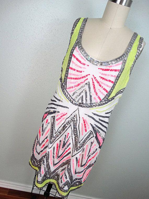 Neon Pop-Art Pailletten Perlen Kleid / / von braxae auf Etsy