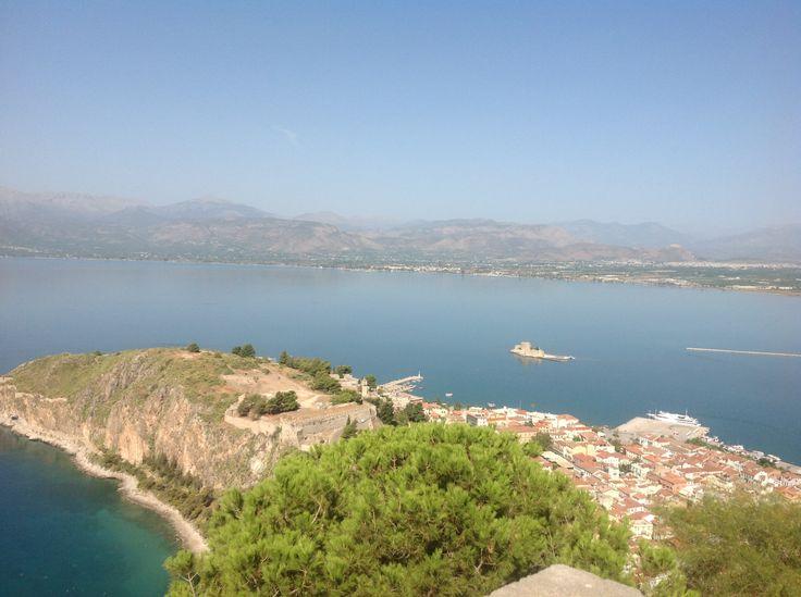 Sea view from the Palamidi at Nafplio, Greece.