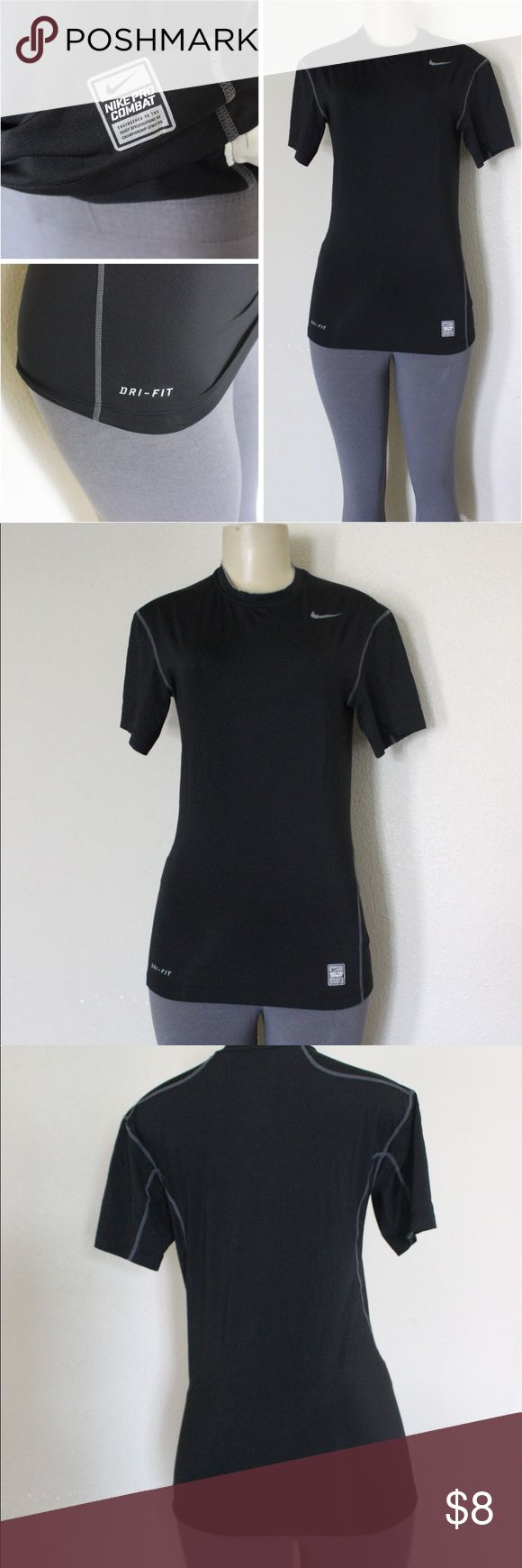 Nike Pro Combat Dry Fit Nike pro combat dri fit workout shirt size L, has dri fit logo on bottom left and Nike pro combat logo on bottom right, on the neck there is also multiple Nike logos going around the neck as seen in the last picture, very lightweight material, and is a fitted shirt,great conditions, gently used ⭐️🖤 Nike Tops Tees - Short Sleeve
