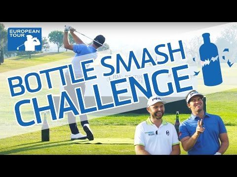 """Bottle Smash Challenge   Via The European Tour   21/10/2016 """"To celebrate the 10th anniversary of the Portugal Masters Golfe, we thought we would mark the occasion with a little challenge on the driving range at Victoria Clube de Golfe. Ten bottles. Three players. One Drone. Let The Games Begin!  +info: http://bit.ly/2dC8Rms #Portugal"""