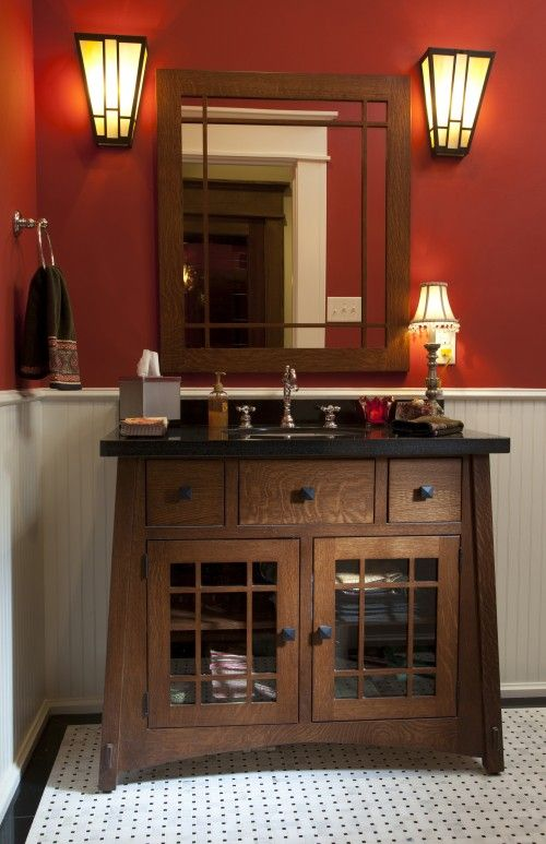 I wish I saw this before I finished my house.  This craftsman style vanity is so pretty.