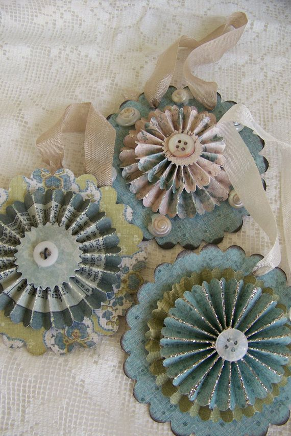 Trio of Handmade Spring Ornaments~ Vintage Style. by QueenBe