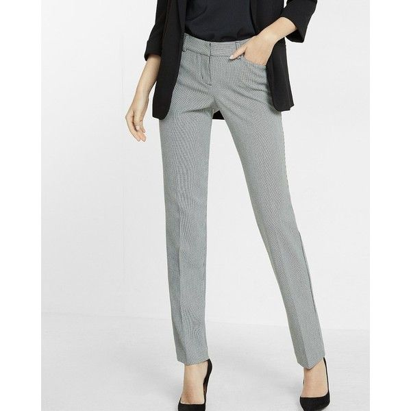 Express Low Rise Houndstooth Slim Leg Editor Pant ($80) ❤ liked on Polyvore featuring pants, print, slim pants, slim fit dress pants, zipper pocket pants, low rise dress pants and slim dress pants