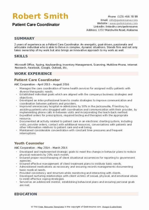 Patient Care Coordinator Job Description Resume Unique Patient Care Coordinator Resume Samples In 2020 Patient Care Coordinator Coordinator Job Patient Care