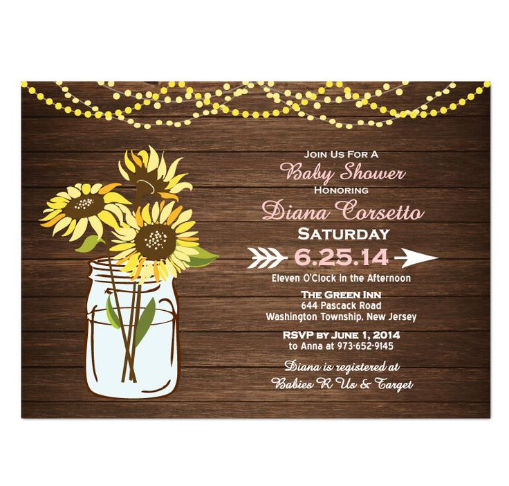 Wood Sunflower Baby Shower Invitation DIY PRINTABLE Digital File or Print (extra) Baby Shower Invitation Printable Lights Baby Shower Pink by TreasuredMomentsCard on Etsy https://www.etsy.com/listing/192957786/wood-sunflower-baby-shower-invitation