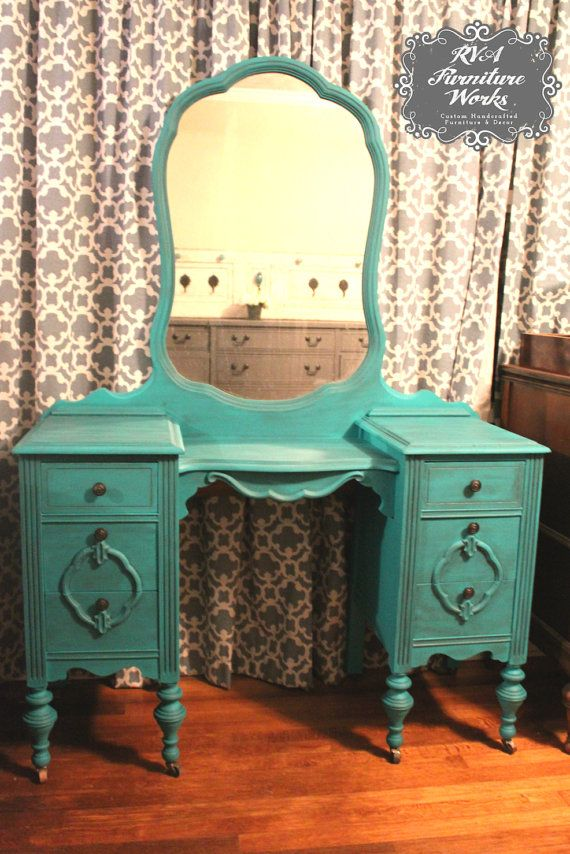 Antique Vanity Dresser Mirror {DISTRESSED TEAL} on Etsy, $375.00 - 43 Best Old Vanity Dresser Images On Pinterest Painted Furniture