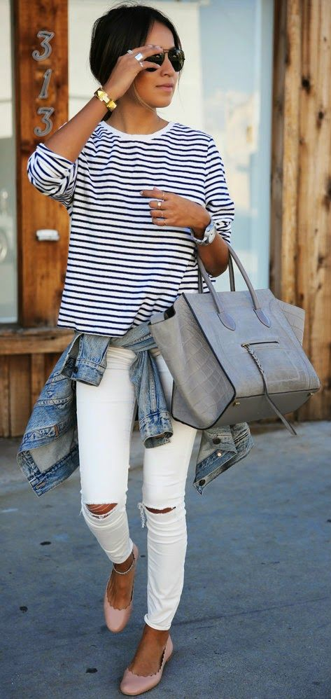 Want white skinny jeans!Easy Breezy - stripe long sleeve tee, white skinny jeans, denim jacket, leather handbag and Blush Flats / Sincerely Jules