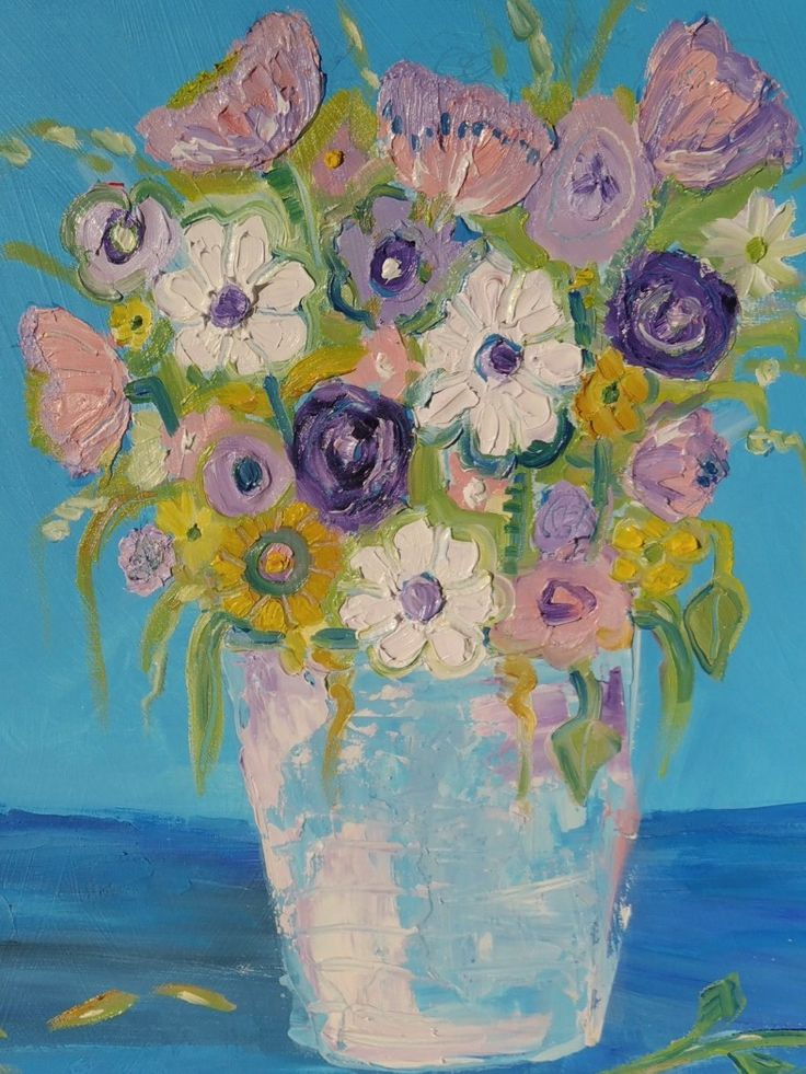 Flowers. Oil over Acrylic on wood panel. By Suzanne Reid Moane.