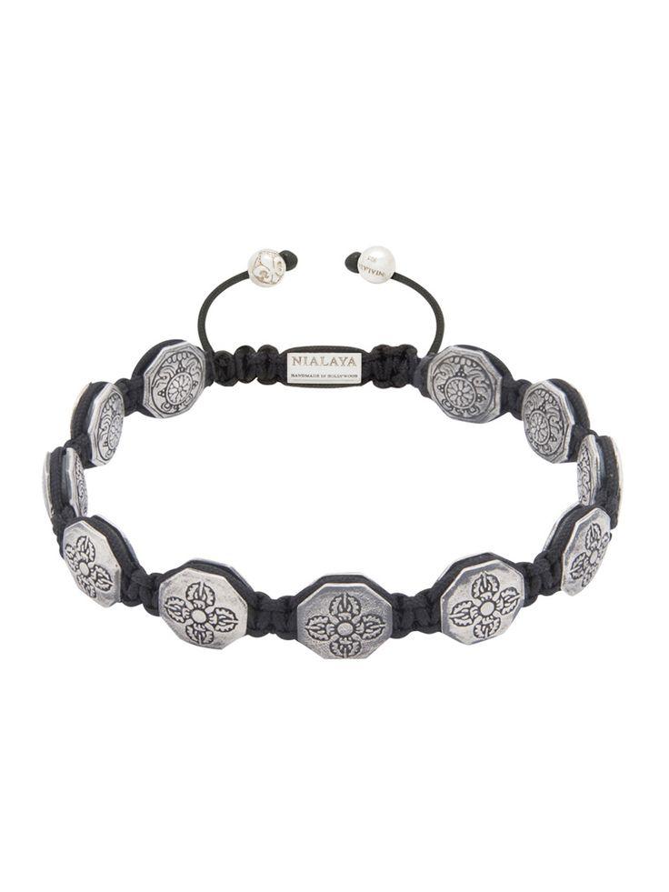Nialaya Flatbead Bracelet with Silver Dorje Beads - Extra Large rw0spc