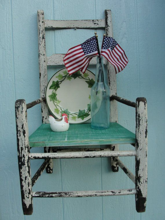 Blue, and White Rustic Chair Shabby Chic Shelf