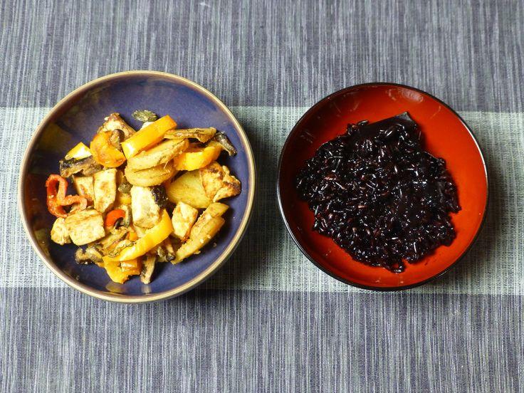 Peppers, tofu, potatoes and black rice