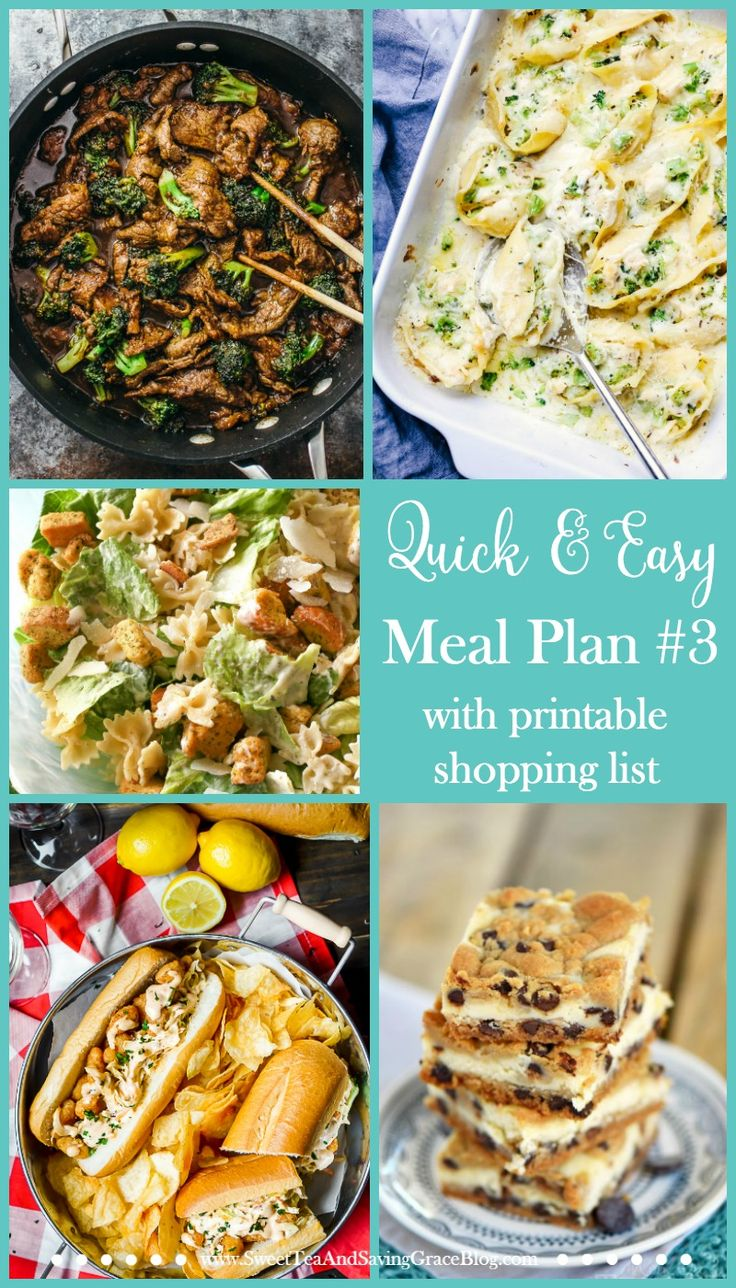 Meal planning doesn't have to suck. These are quick & easy meals that will be easy to fix during a busy week. Plus, there's a printable shopping list to make things even easier! http://sweetteaandsavinggraceblog.com/quick-easy-meal-plan-3/?utm_campaign=coschedule&utm_source=pinterest&utm_medium=Sweet%20Tea%2C%20LLC%20%20%7C%20%20Blogging%20and%20Email%20Marketing&utm_content=Quick%20and%20Easy%20Meal%20Plan%20%233