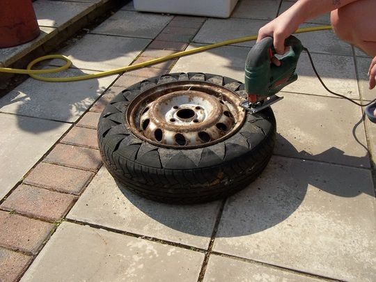 step by step guide on how to make your own tyre plant pot. : Grows on You