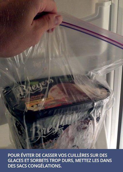 De la glace trop dure à servir ? Pas si elle est placée au congélateur dans un sac ...