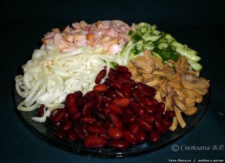 Рецепты салатов с консервированной фасолью и копченой колбасой