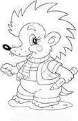 Baby Hedgehog at school Coloring page