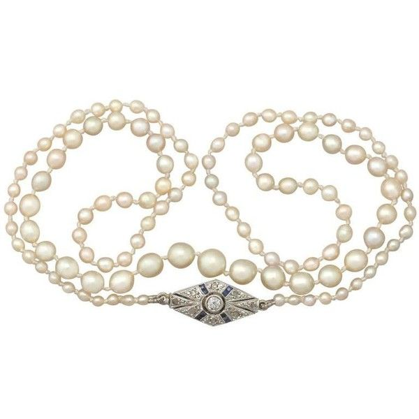 Preowned Natural Pearl Necklace With Diamond, Sapphire And Gold Clasp ($4,365) ❤ liked on Polyvore featuring jewelry, necklaces, beaded necklaces, blue, diamond necklace, knotted pearl necklace, blue diamond necklace, pearl necklace and bezel set diamond necklace