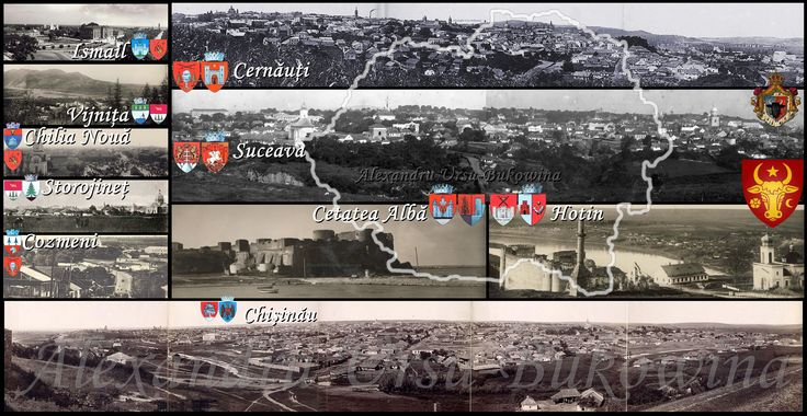 Suceava, Cernăuţi, Hotin, Cetatea Albă, Ismail, Vijniţa, Chilia Nouă, Storojineţ, Cozmeni şi Chişinău - mozaic.