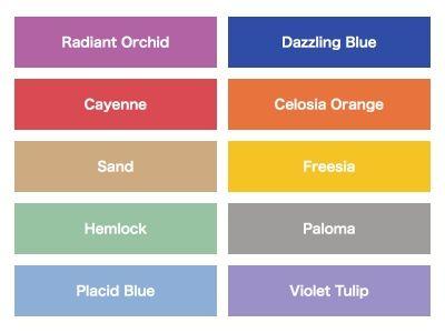 """PANTONEの""""FASHIONCOLORREPORTSPRING2014""""では、ラディアント・オーキッドの他に、ダズリング・ブルー、カイエンなど、注目すべきカラーとして10色がピックアップされています。"""