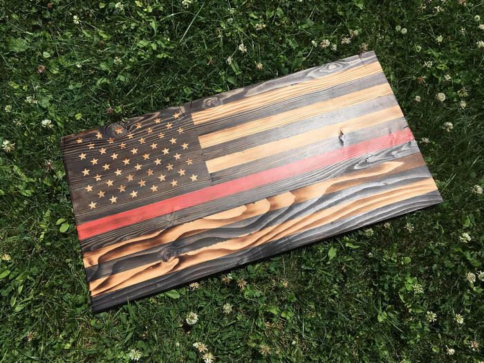 thin red line rustic wood flag - thin red line flag - rustic flag - thin red line decor - rustic wood flag - rustic red blue line flag by SMLcraftycouple on Etsy https://www.etsy.com/listing/520424780/thin-red-line-rustic-wood-flag-thin-red