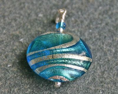Ripples Turquoise and Blue Pendant handmade by Firefrost. This is part of our Lakeland Waters Collection and has matching Ripples earrings to go with it.  Lovely colours of Turquoise, Blue Green and Gold