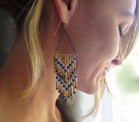 Southwestern Chandelier Earrings with Chevron by brookeelissa, $68.00