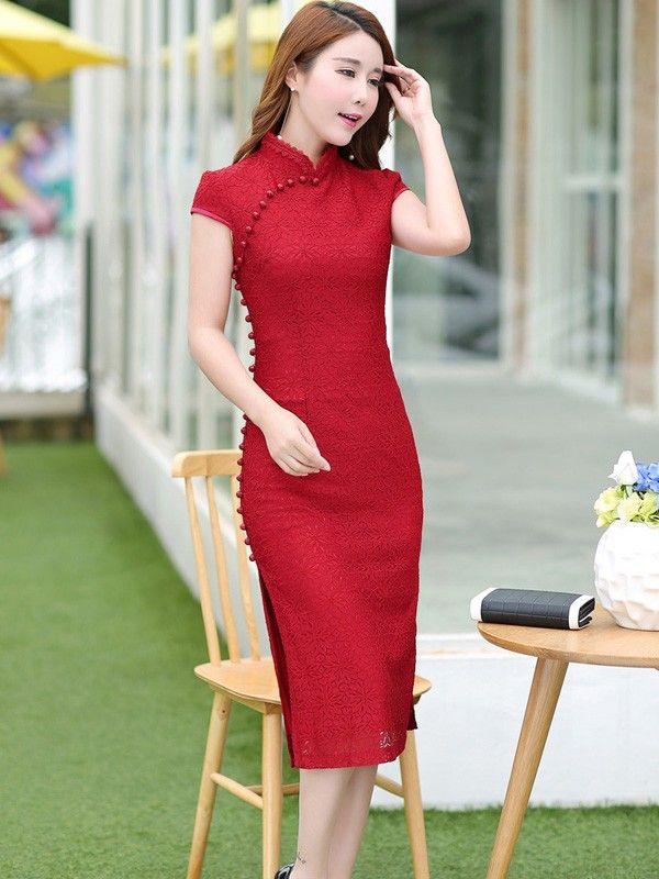Beaded Midi Lace Qipao / Cheongsam Party Dress