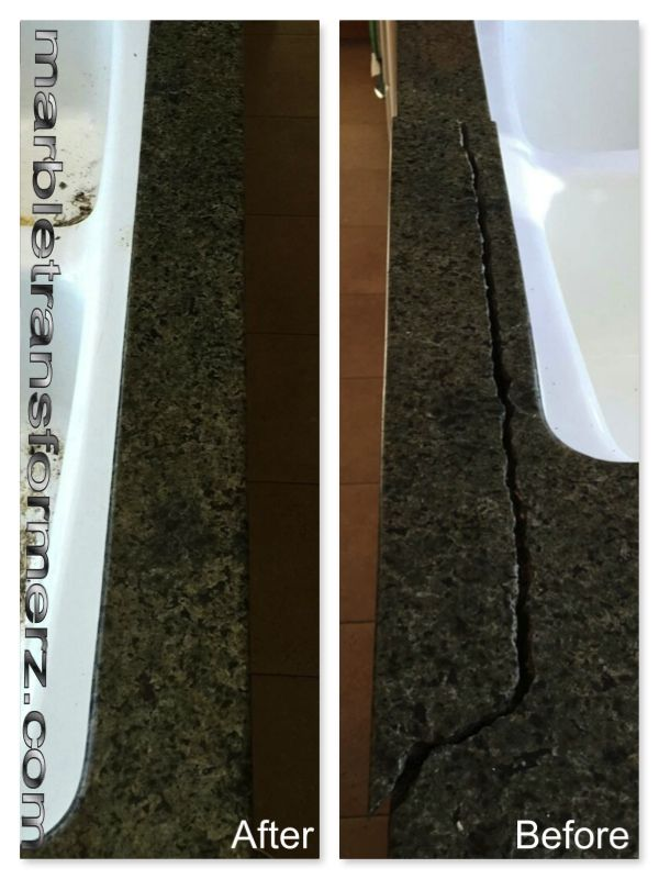 how to fix cracked granite countertop
