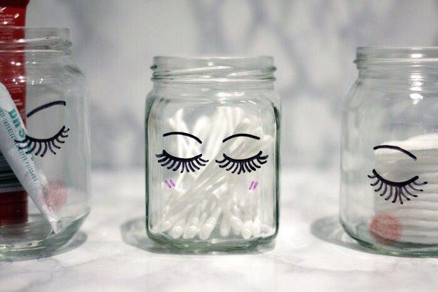 Add some little lashes to your jars so they can be as pretty as you are. | 17 Pretty And Functional DIY Beauty Organization Solutions