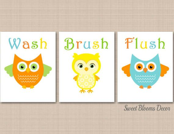Owl Bathroom Wall Art Owl Kids Bathroom Decor Orange Teal Aqua Owl Bath  Girl Boy Sister Brother Bathroom Decor Give A Hoot UNFRAMED B148