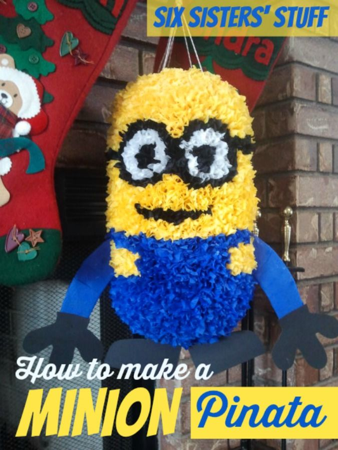 How to make your own Minion Piñata - step by step instructions to make this for only pennies! SixSistersStuff.com