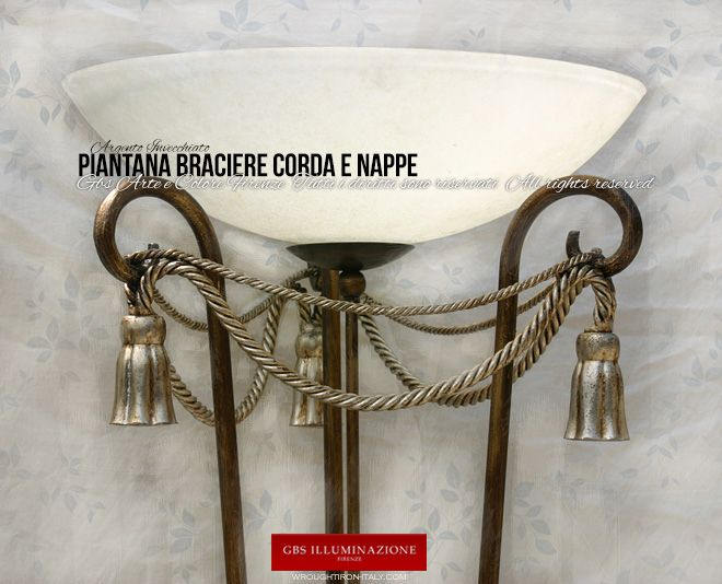 Piantana Braciere Corda e Nappe | GBS Illuminazione – Ferro Battuto – Wrought Iron – Made in Florence