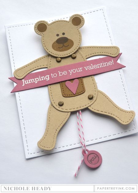 Jumping Bear Valentine Card by Nichole Heady for Papertrey Ink (December 2016)