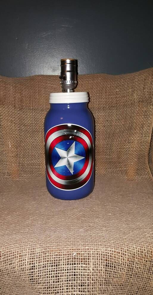 Check out this item in my Etsy shop https://www.etsy.com/listing/468508514/captain-america-half-gallon-mason-jar