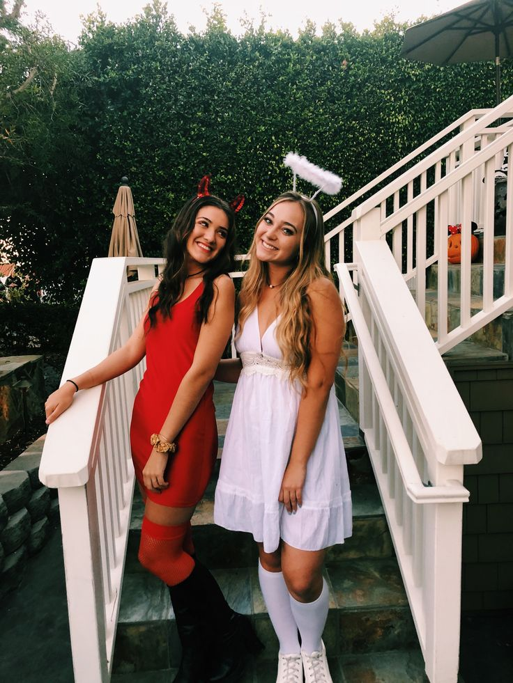 best friend costumes, devil and angel, halloween costume