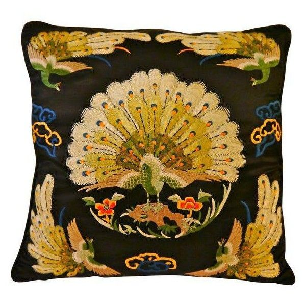 Satin Stitched Asian Peacock Pillow ($249) ❤ liked on Polyvore featuring home, home decor, throw pillows, oriental throw pillows, peacock home accessories, black home decor, black toss pillows and black accent pillows