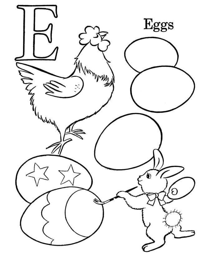 Easter Egg Coloring Pages | BlueBonkers - Letter E, for EGG coloring pages - P 4