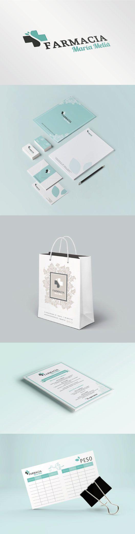 Diseño de identidad visual para la imagen de Farmacia María Meliá, en Valencia. Una farmacia única con una imagen muy personal. #imagencorporativa #branding #diseñografico #papeleriacorporativa