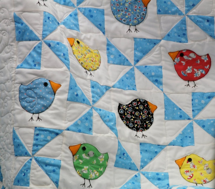 Chickees: Birdi Quilts, Cute Baby, Cute Birds, Baby Quilts, Little Birds, Cute Ideas, Birds Quilts, Pinwheels Quilts, Quilts Ideas