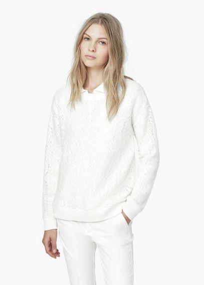 Suéter textura rendada | MANGO
