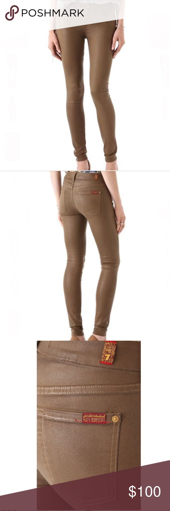 """7 For All Mankind Coated Skinny Jeans By 7 For All Mankind. """"The Skinny High Shine Gummy"""" in Sepia Brown. Stretchy, legging-weight gummy denim. Leather-like coating. Classic five-pocket style. NWOT - never worn. 7 For All Mankind Jeans Skinny"""
