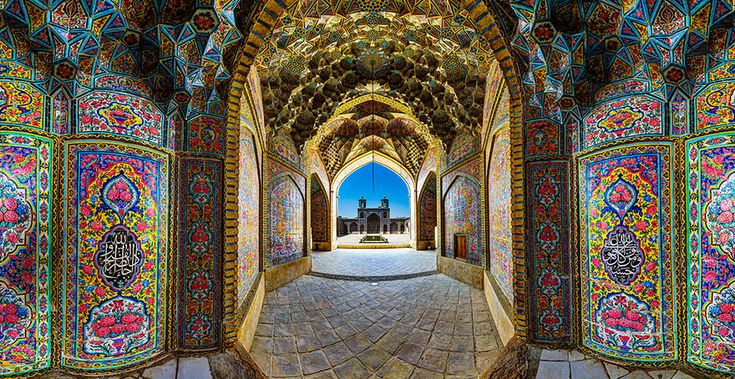 Nasir-ul Molk Mosque with all of the the Rainbow Colors